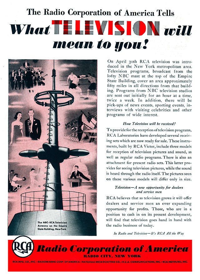 RCA ad announcing the start of regularly scheduled television broadcasting in New York City by RCA-NBC in April 1939 via station W2XBS, the forerunner of today's WNBC, June 1939 (public domain via RCA via Wikipedia)