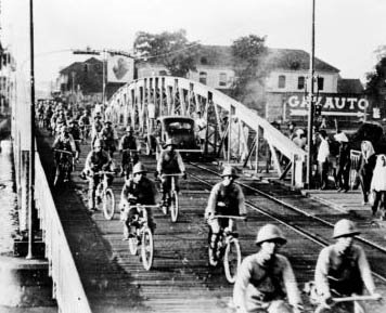 Japanese troops enter Saigon by bicycle, 24 July 1941. (Japanese army photo)