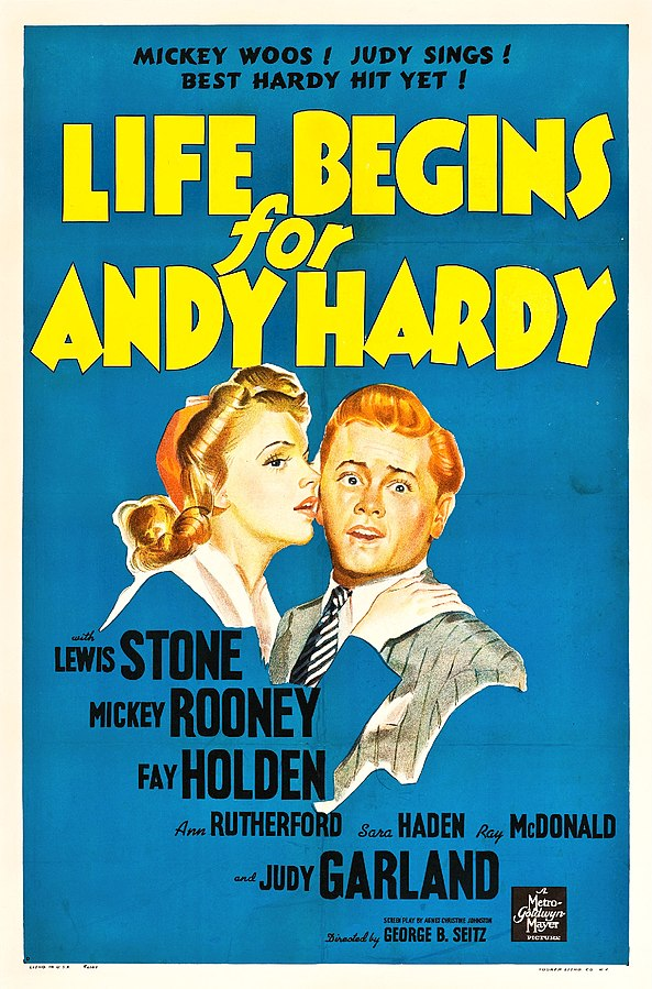 MGM movie poster for Life Begins for Andy Hardy, 1941 (public domain via Wikipedia)