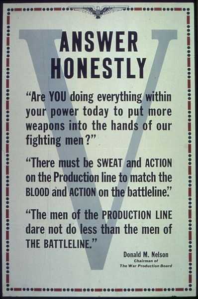 World War II poster with quote from Donald M. Nelson (US National Archives:44-PA-413)