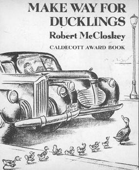 Book cover for Make Way for Ducklings, 1942, showing Caldecott Award for illustrations