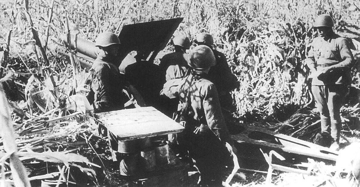 Soviet gun crew in action during siege of Odessa in 1941 (public domain via Wikipedia)