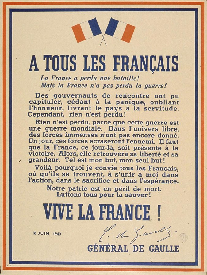 Poster with Charles De Gaulle's speech to France on the BBC, 18 Jun 1940 (public domain via National Library of France)