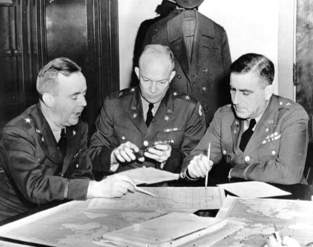 Brig. Gen. Crawford, Brig. Gen. Dwight Eisenhower, and Chief of War Plans Division General Leonard Gerow, Washington, DC, 26 Jan 1942 (US National Archives)