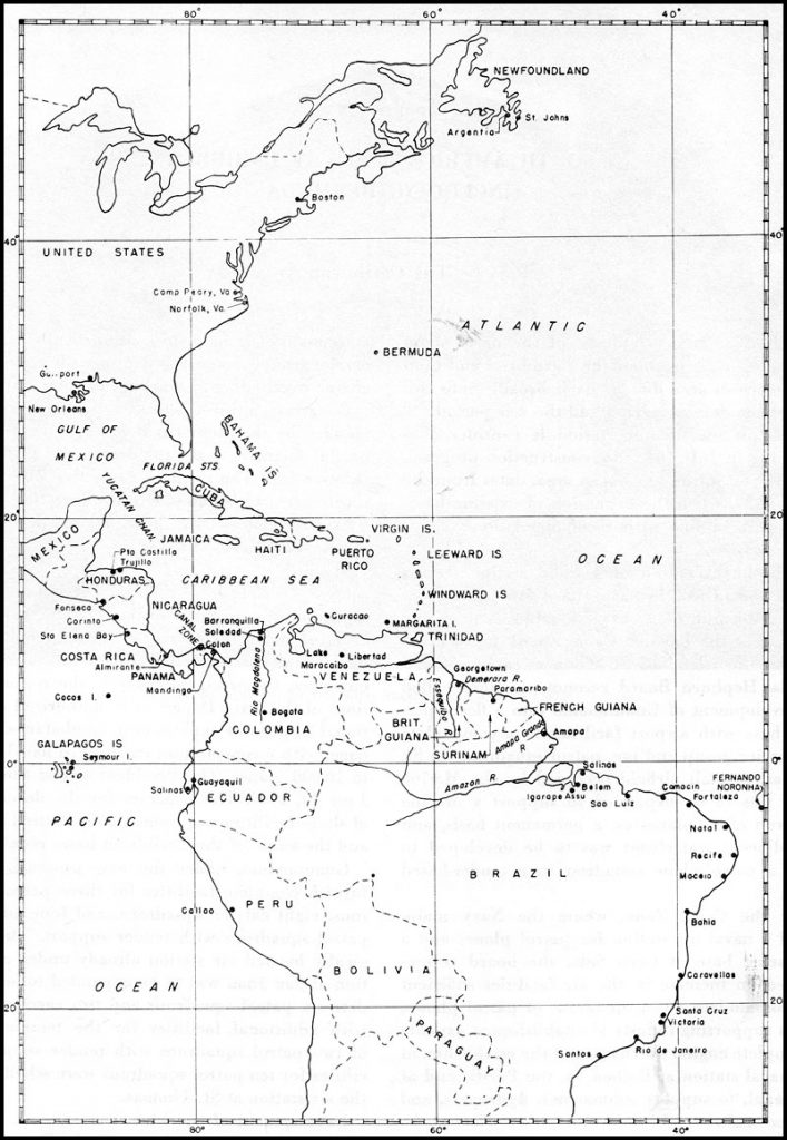 Map of US Navy Western Atlantic and Canal Zone Defense Area in WWII (Source: US Navy)