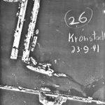 Luftwaffe aerial photograph of the damaged Soviet battleship Marat in Kronstadt, leaking oil, 27 September 1941 (Luftwaffe photo, public domain via Wikipedia)