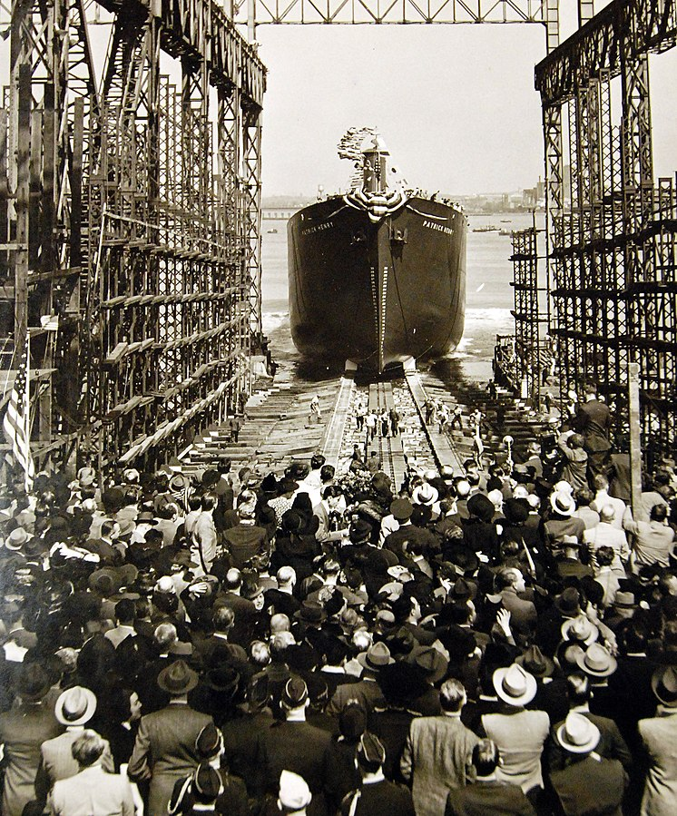 Liberty ship SS Patrick Henry launching in Baltimore, MD, on Liberty Fleet Day, 27 September 1941 (National Museum of the US Navy: Lot-3452-6)