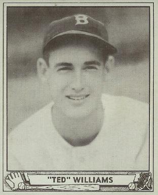 Baseball card for Boston Red Sox left fielder Ted Williams, 1940 (Wikipedia, public domain)