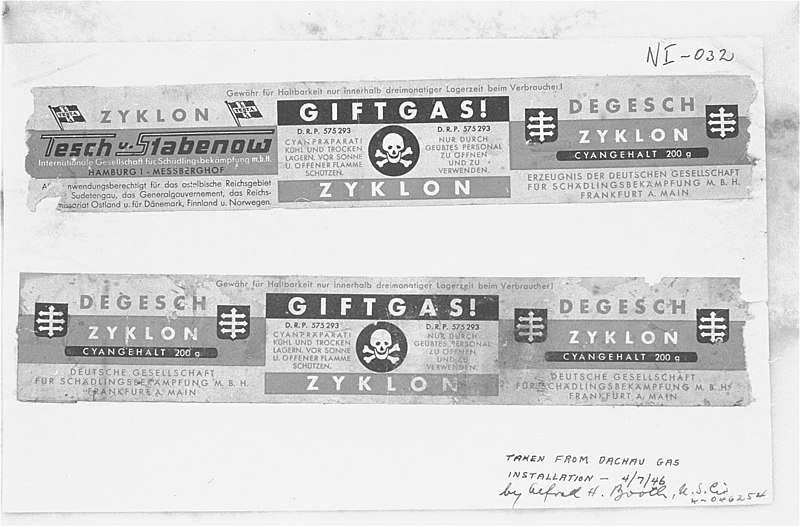 Labels taken from canisters of Zyklon B from Dachau, used as evidence at the Nuremberg Trials, 7 April 1946 (US National Archives: 03563)