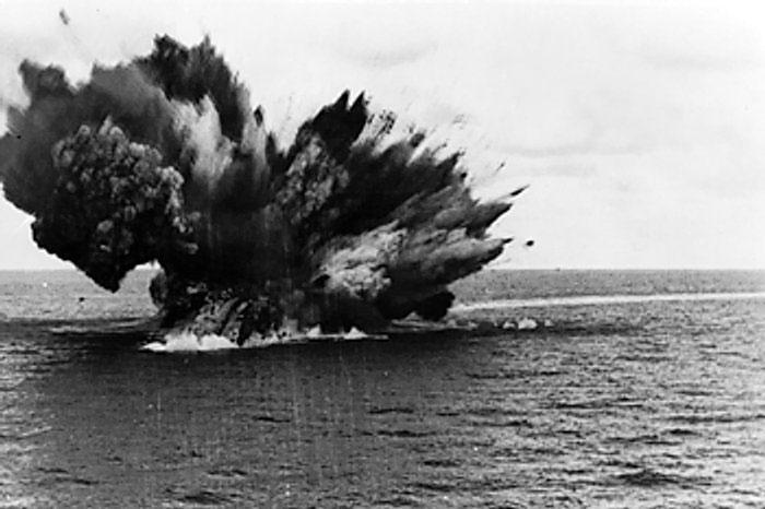 Explosion on HMS Barham, 25 Nov 1941 (Imperial War Museum)
