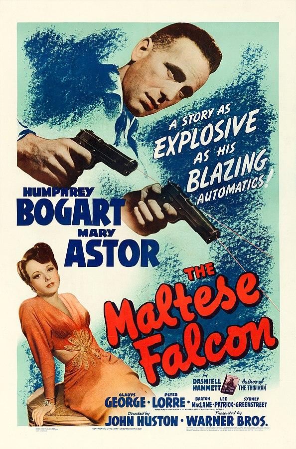 Warner Brothers poster for The Maltese Falcon, 1941 (public domain via Wikipedia)