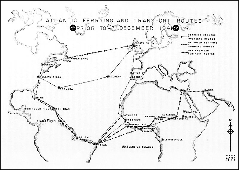 Map of US Army Air Corps Atlantic Ferrying and Transport Routes, 1941 (Craven, Wesley F. & Cate, James L. The Army Air Forces in World War II. Volume One: Plans and Early Operations; September 1939 to August 1942, public domain)
