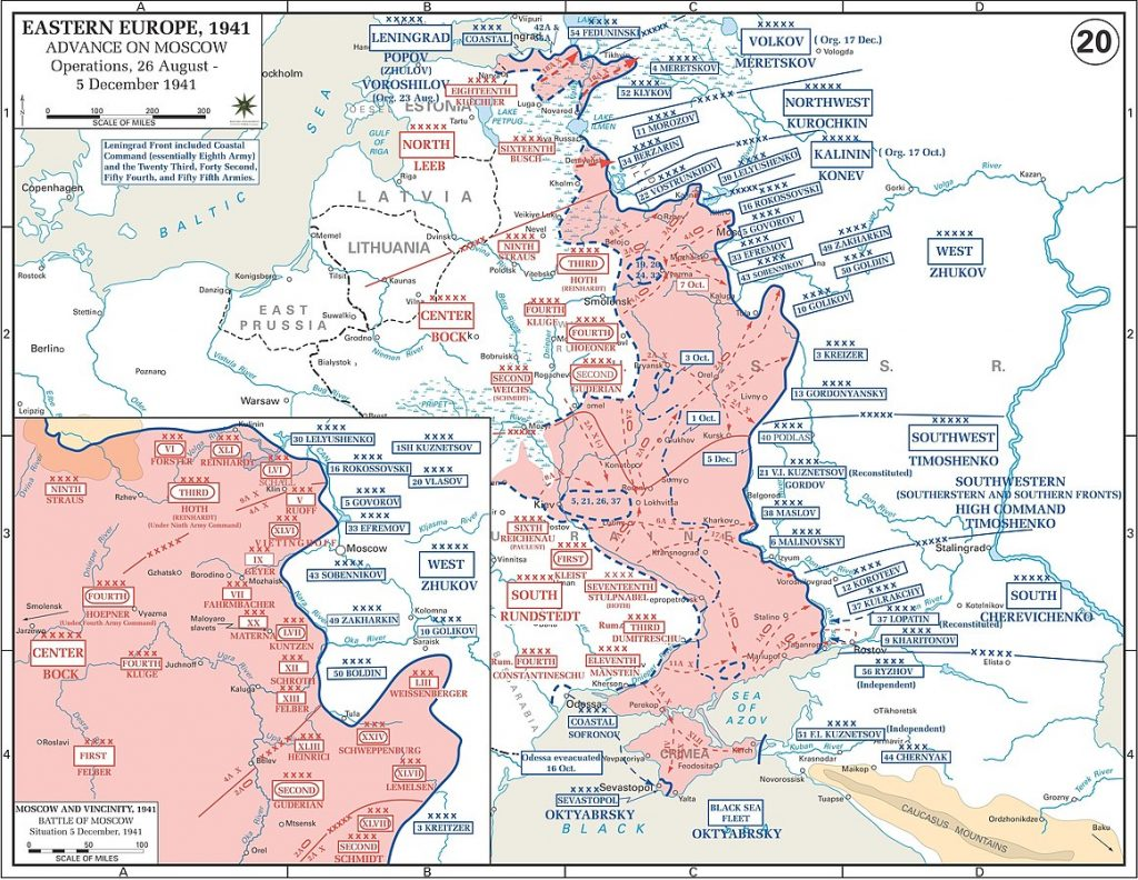Map of the German advance on Moscow, 26 Aug-5 Dec 1941(The History Department of the United States Military Academy)