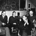 Leaders of the S-1 project consider the feasibility of the 184-inch cyclotron at University of California, Berkeley, March 29, 1940: left to right: Ernest O. Lawrence, Arthur Compton, Vannevar Bush, James B. Conant, Karl Compton, Alfred Loomis (US Department of Energy photo: HD.1A.018)