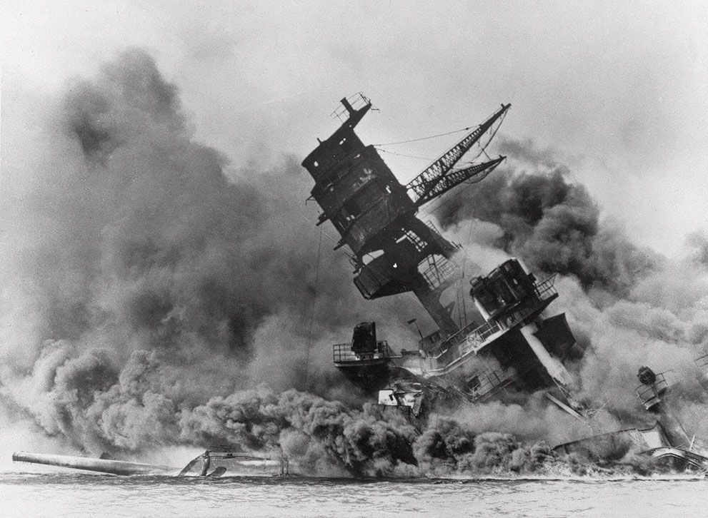 Battleship USS Arizona burning at Pearl Harbor, 7 Dec 1941 (US National Archives)
