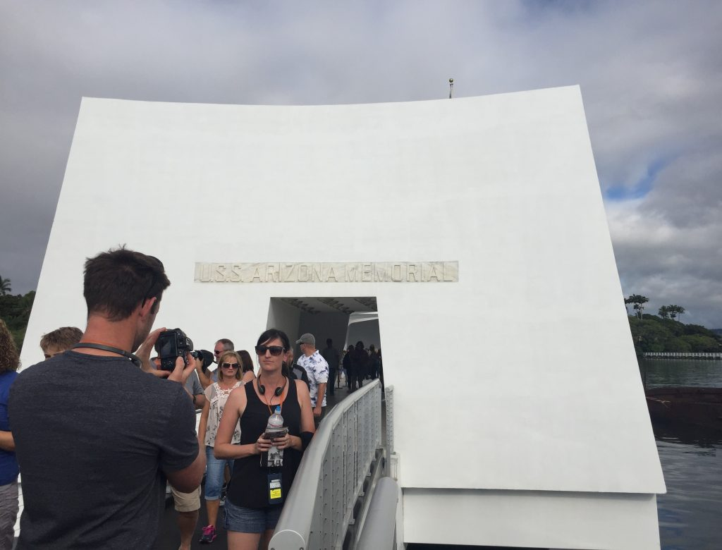 Entrance to the USS Arizona Memorial, Pearl Harbor, Hawaii (Photo: Sarah Sundin, 7 Nov 2016)