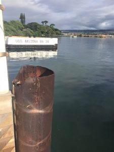 The USS Arizona's mooring, as viewed from the memorial, Pearl Harbor, Hawaii (Photo: Sarah Sundin, 7 Nov 2016)