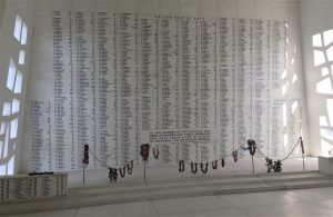 The memorial wall listing the 1177 sailors and Marines who died on the Arizona on 7 December 1941 (Photo: Sarah Sundin, 7 Nov 2016)