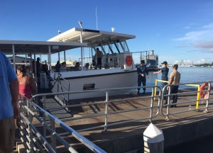 US Navy shuttle boat to the USS Arizona Memorial (Photo: Sarah Sundin, 7 Nov 2016)
