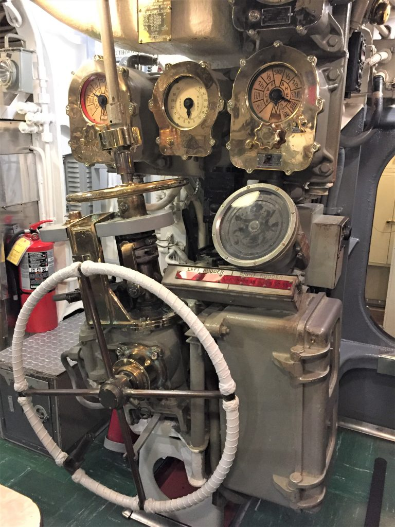 Navigational controls of the USS Bowfin, Pearl Harbor (Photo: Sarah Sundin, 7 Nov 2016)