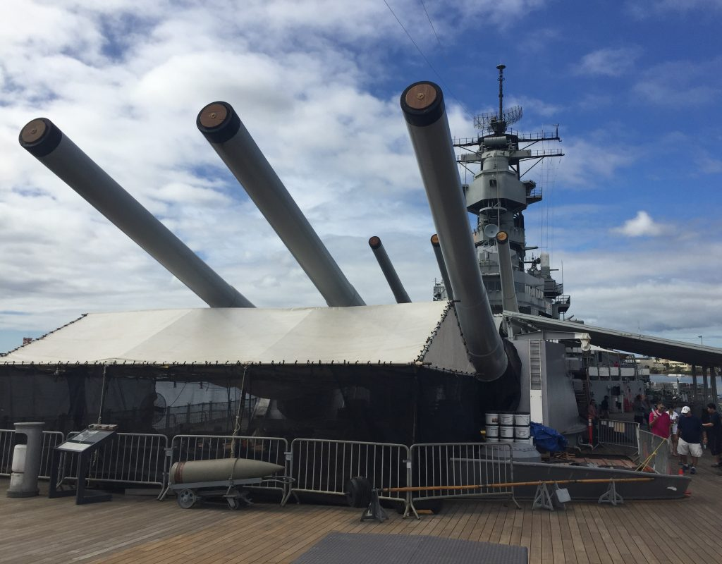 Forward main battery of the battleship USS Missouri, Pearl Harbor, Hawaii (Photo: Sarah Sundin, 7 Nov 2016)