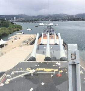Guns of the battleship USS Missouri keeping watch over the USS Arizona Memorial, Pearl Harbor, Hawaii (Photo: Sarah Sundin, 7 Nov 2016)