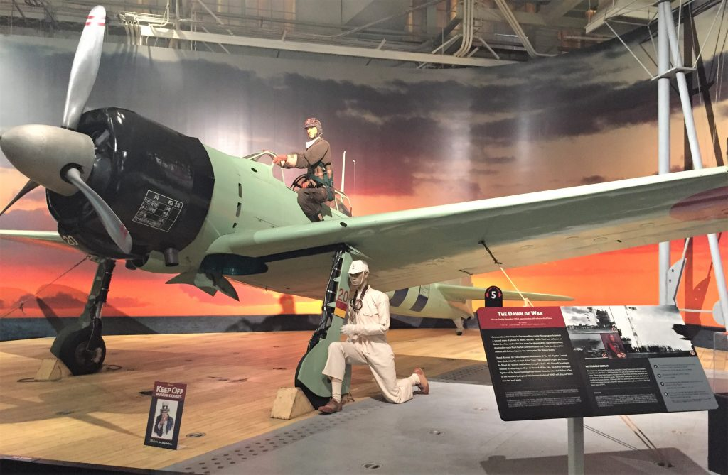 Japanese A6M Zero fighter like those used in the attack on Pearl Harbor. At the Pacific Aviation Museum, Pearl Harbor. (Photo: Sarah Sundin, 7 Nov 2016)