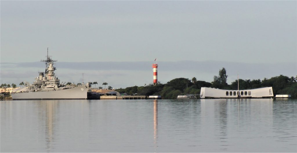 Pearl Harbor Historic Sites: USS Missouri, the control tower at the Pacific Aviation Museum, and the USS Arizona Memorial (Photo: David Sundin, 7 Nov 2016)