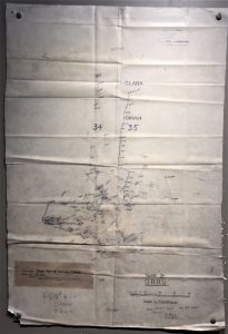 Plot from the Opana Radar Station from 7 December 1941, showing the Japanese planes approaching Pearl Harbor (Valor in the Pacific Museum. Photo: Sarah Sundin, 7 Nov 2016)