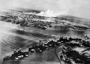 Attack on Battleship Row of Pearl Harbor, seen from a Japanese aircraft, 7 Dec 1941 (US National Archives)