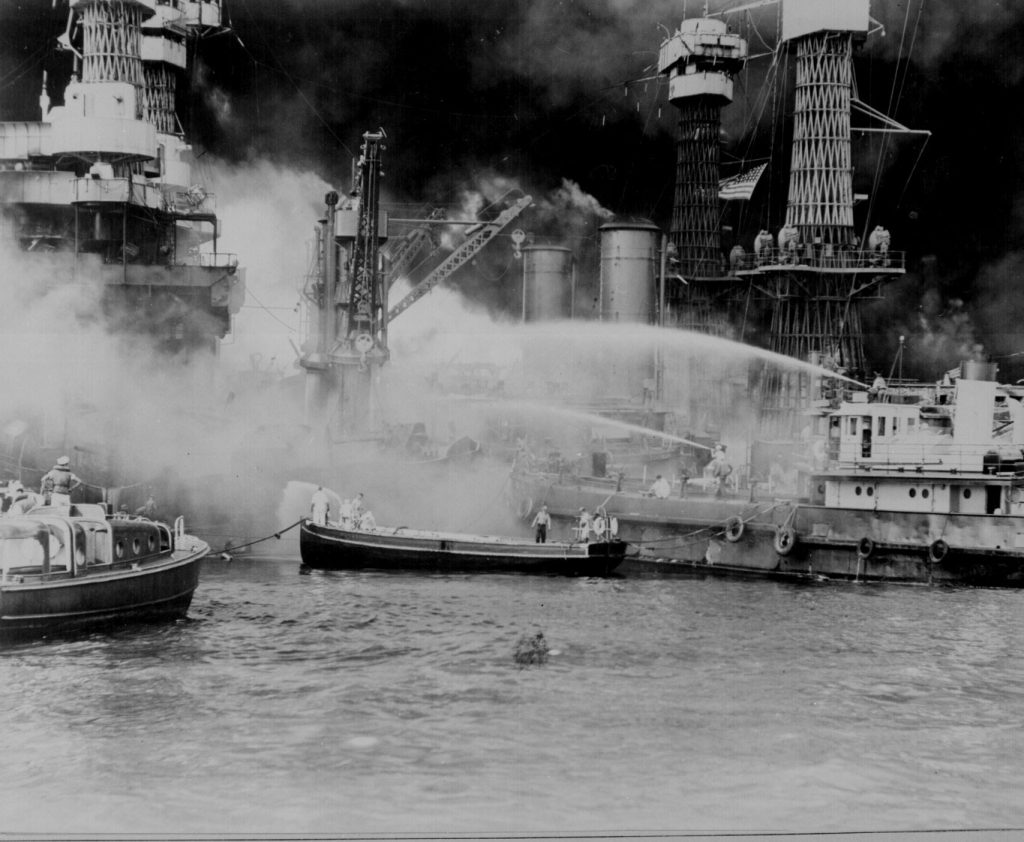 Battleship USS West Virginia during the Pearl Harbor attack, 7 Dec 1941 (US National Archives)