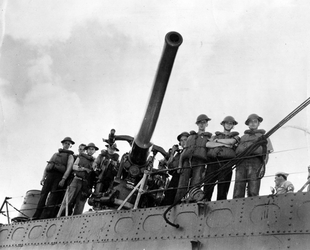 The number three gun of the destroyer USS Ward and her crew, credited with firing the first shot at Pearl Harbor (US Navy photo)