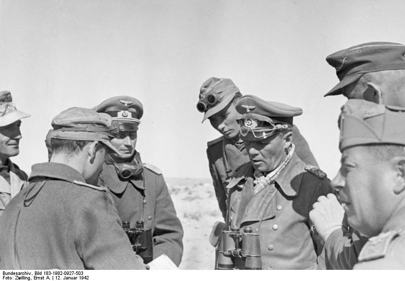 General Erwin Rommel and officers at El Agheila, Libya, 12 Jan 1942 (German Federal Archive: Bild 183-1982-0927-503)