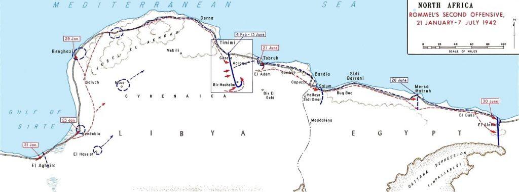 German advances in Libya, January 21-July 7, 1942 (US Army map)