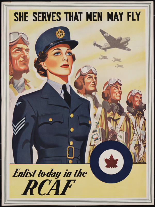 Poster of the Royal Canadian Air Force, Women's Division, WWII