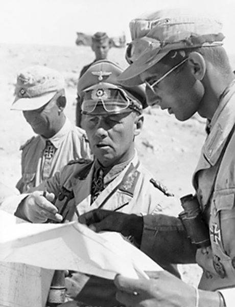 Field Marshal Erwin Rommel, Commander of the German forces in North Africa, with his aides during the desert campaign, 1942 (German Federal Archive: Bild 101I-785-0287-08)