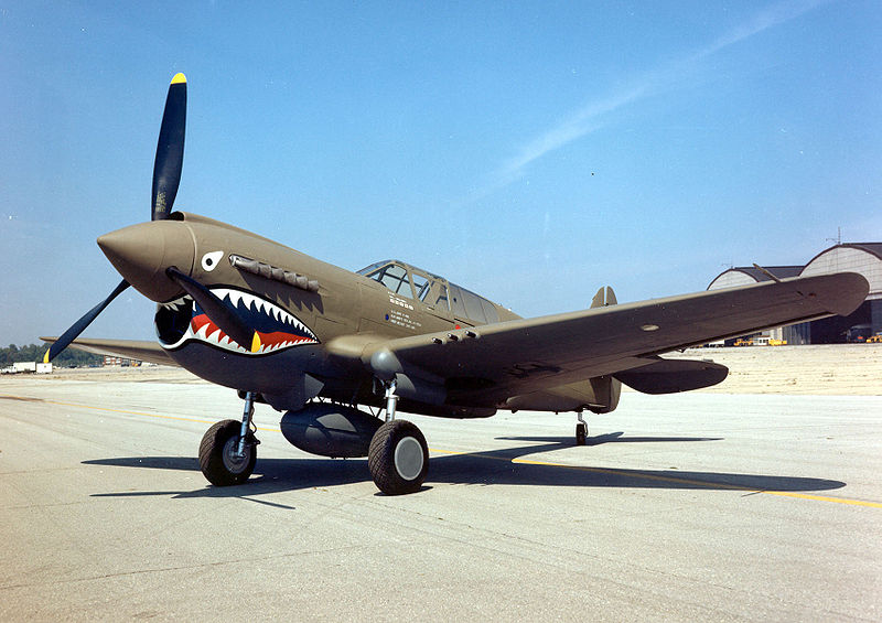 Curtiss P-40E with Flying Tigers paint scheme at National Museum of the US Air Force,  Dayton, OH (Photo: National Museum of the US Air Force)