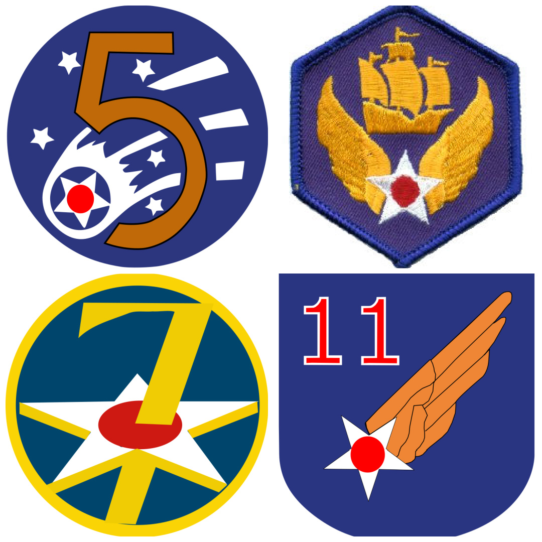 Patches of the US Fifth, Sixth, Seventh, and Eleventh Air Forces