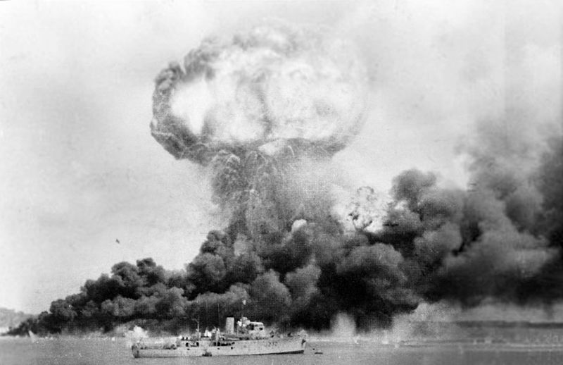 Explosion of MV Neptuna, hit during the Japanese air raid on Darwin, Australia, 19 February 1942 (Royal Australian Navy photo)