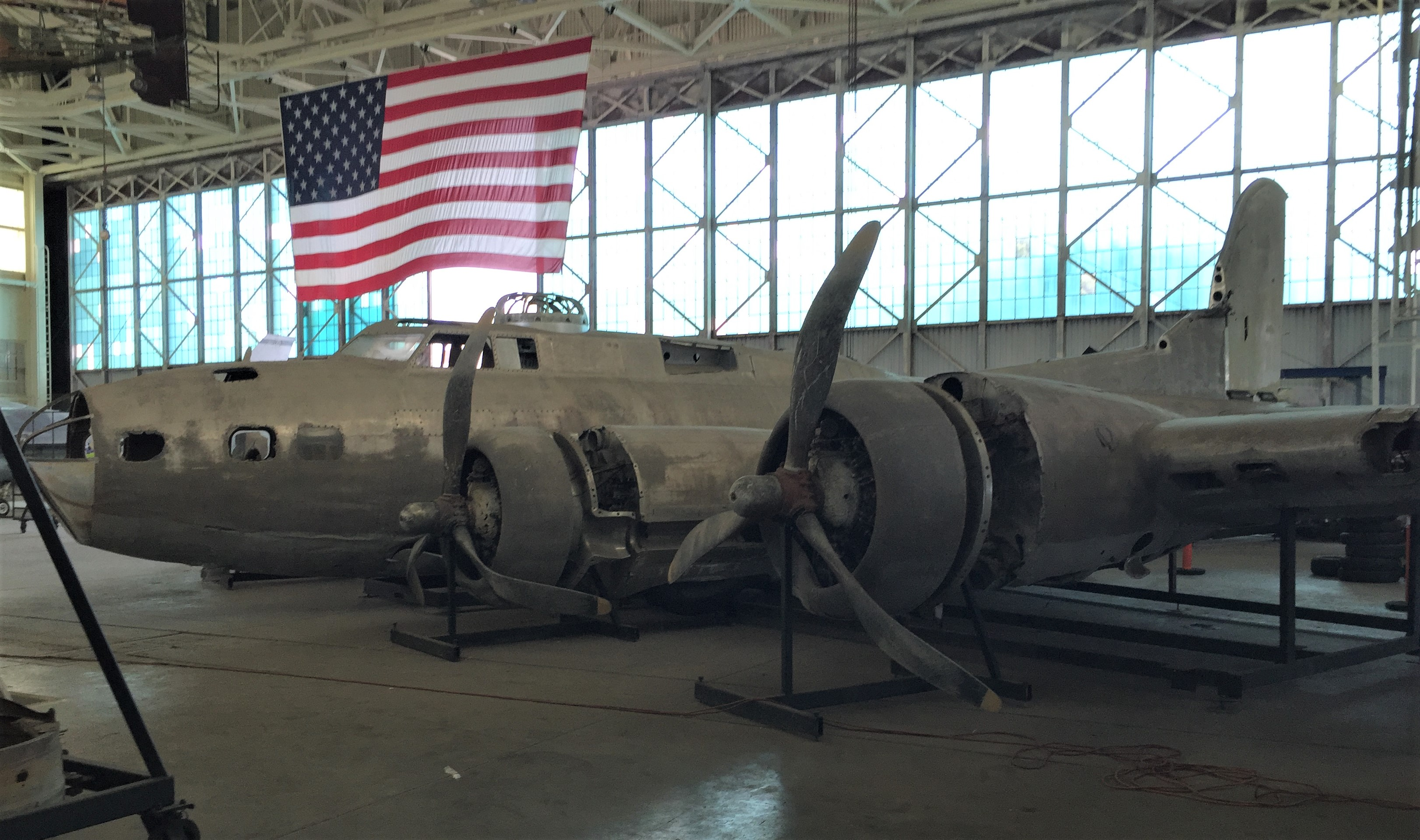 "US B-17 Flying Fortress ""Swamp Ghost"" undergoing restoration at the Pacific Aviation Museum. (Photo: Sarah Sundin, 7 Nov 2016)"