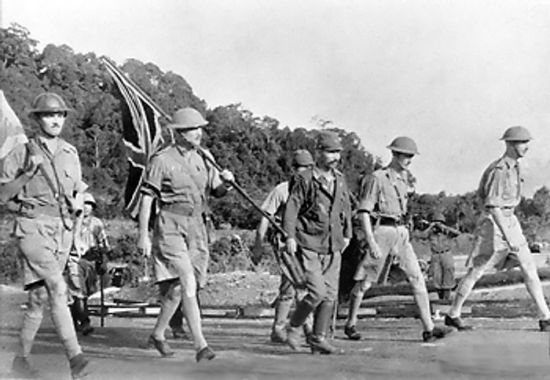 British Army Lt. Gen. Arthur Percival and his party on their way to surrender Singapore to the Japanese, 15 Feb 1942 (Imperial War Museum)