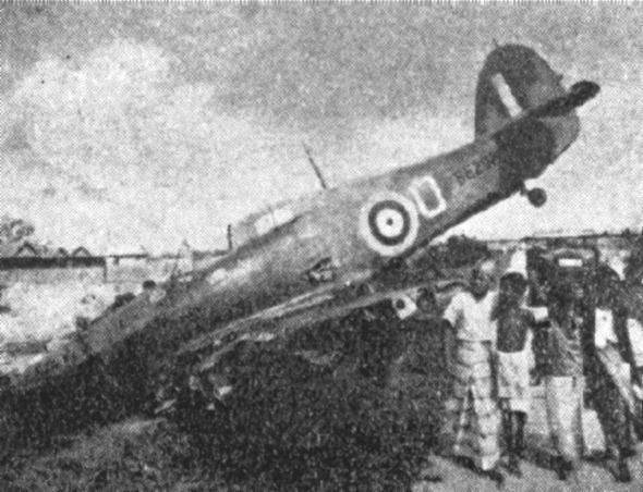 Wrecked Hurricane aircraft, British Malaya, 8 Feb 1942 (Japanese government photo)