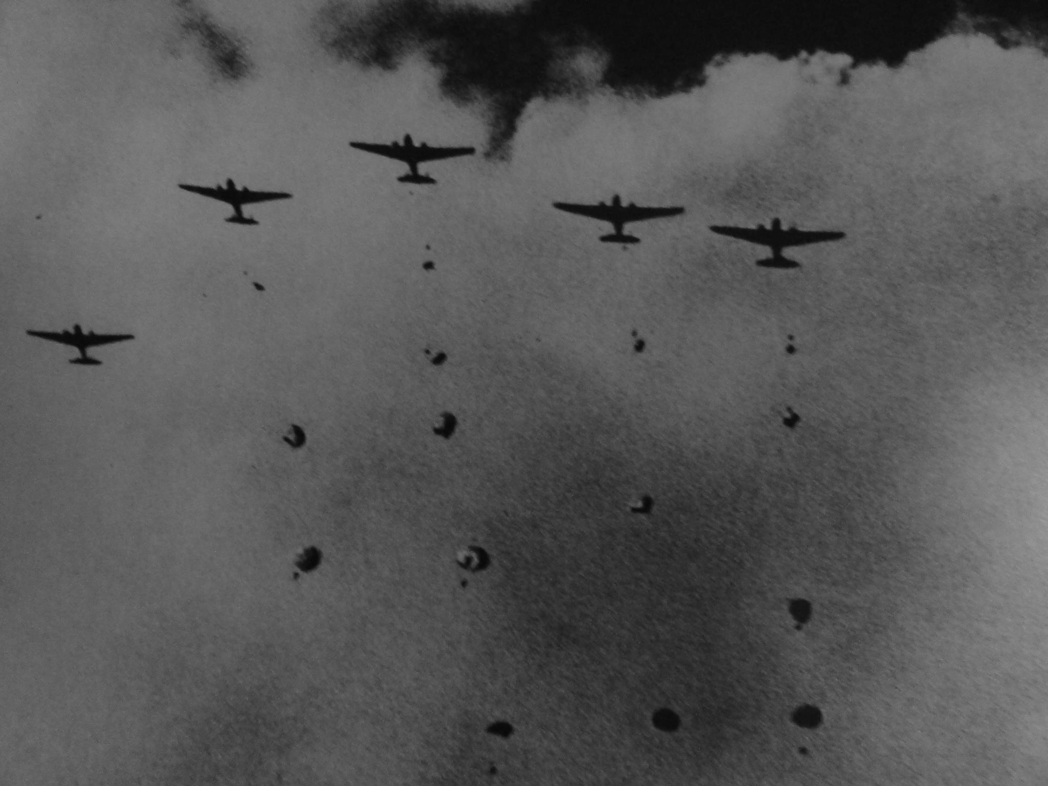 Japanese paratroopers landing in Sumatra, Dutch East Indies, 13 Feb 1942 (Japanese Navy photo)