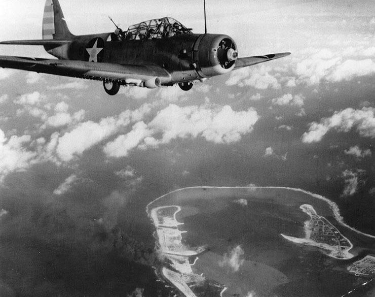 TBD-1 Devastator bomber over Wake Island during American attack, 24 Feb 1942 (US National Archives)