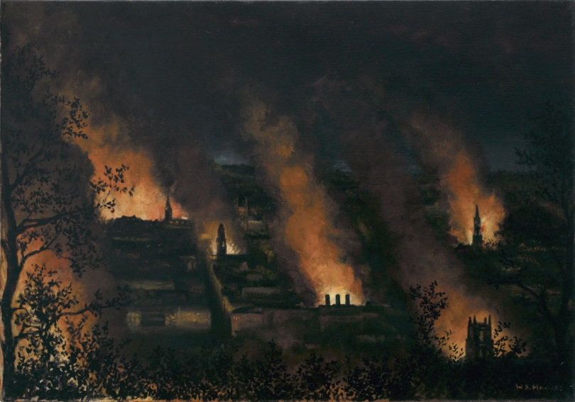 Fire Blitz on Bath, 1942, by Wilfred Haines (Imperial War Museum)