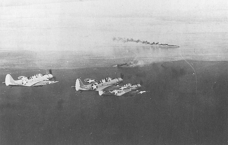 US Navy TBD-1 Devastators from USS Yorktown, prepare to attack Japanese shipping in the Huon Gulf, New Guinea, 10 March 1942 (US Navy photo)