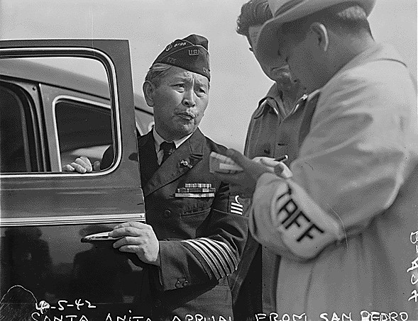Japanese-American WWI veteran at the Santa Anita Park Assembly Center, CA, 5 Apr 1942 (US National Archives: Dorothea Lange, photographer)