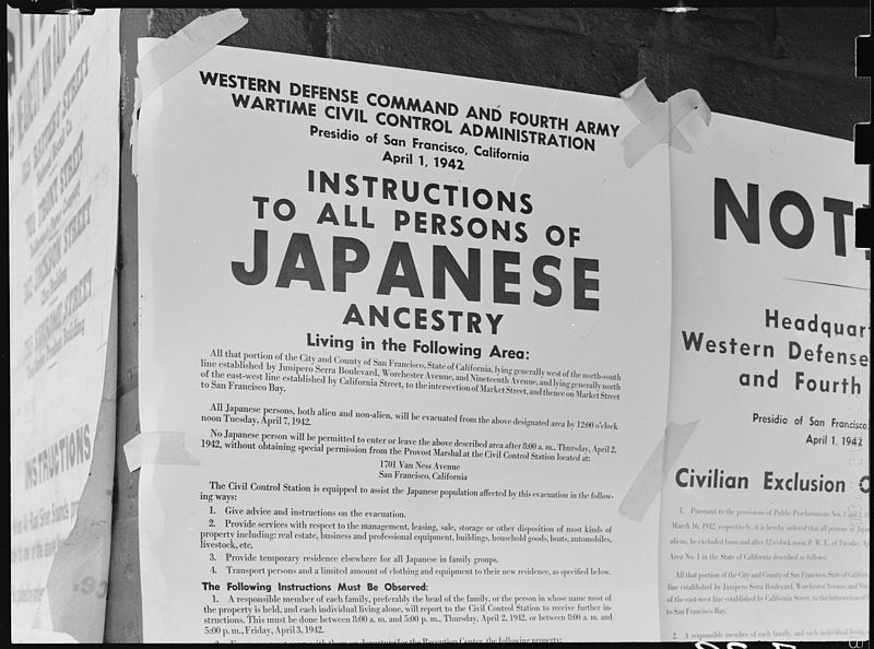 Exclusion Order posted to direct Japanese-Americans living in the first San Francisco section to evacuate, 1 Apr 1942 (US National Archives)