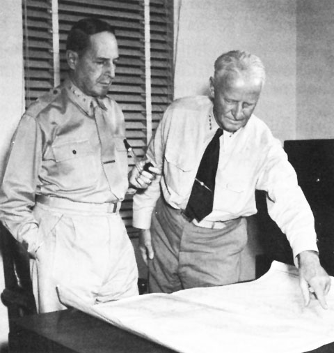 Gen. Douglas MacArthur and Adm. Chester Nimitz, 1942-1944 (US Government photo)
