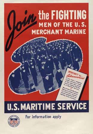 US Merchant Marines poster, 1943 (US National Archives vis American Merchant Marine at War)